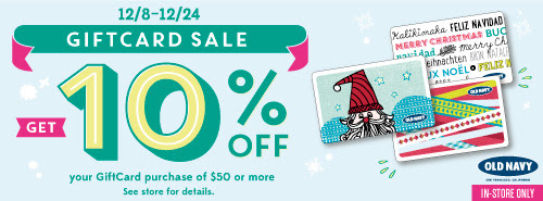 oldnavygiftcards $50 Old Navy Gift Card for Only $45!