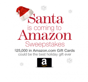 santaamazon 300x279 WOW Enter Win $25,000 in Amazon Gift Cards! Last Chance