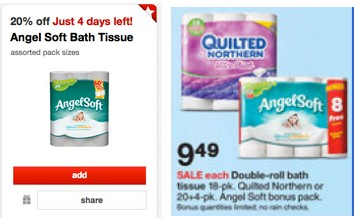 targetangelsoft Angel Soft Bath Tissue Only $.20 Per Double Roll at Target!