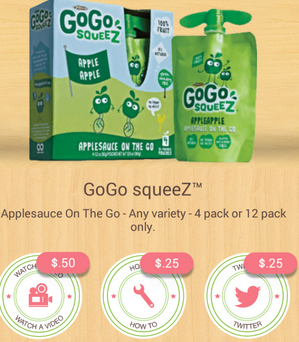 GoGo Squeez iBotta offer GoGo Squeez Applesauce 4 Pack Just 53¢ at Walmart