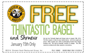 Thintastic Coupon R4 300x188 Einstein Bros.: Free Thintastic Bagel and Shmear! Today Only!