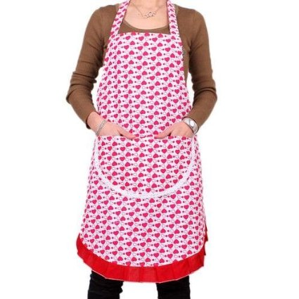 hearts apron Womens Red Heart Pattern Apron with Pockets Just $4.99 Shipped!
