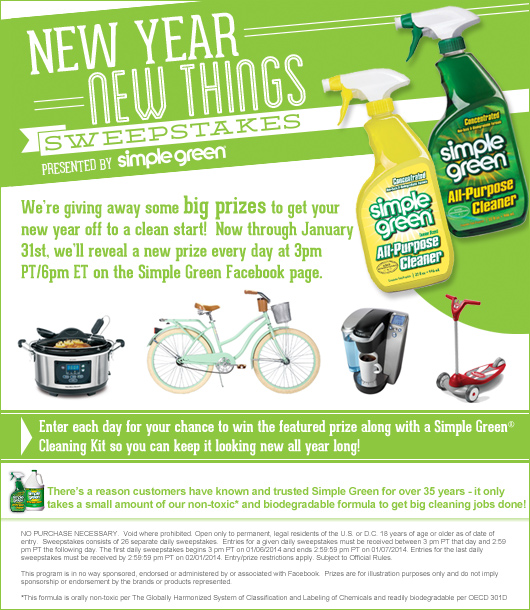 simplegreen1 Simple Green: New Year, New Things Sweepstakes Win 1 of 26 Daily Prizes + a Simple Green Cleaning Kit!