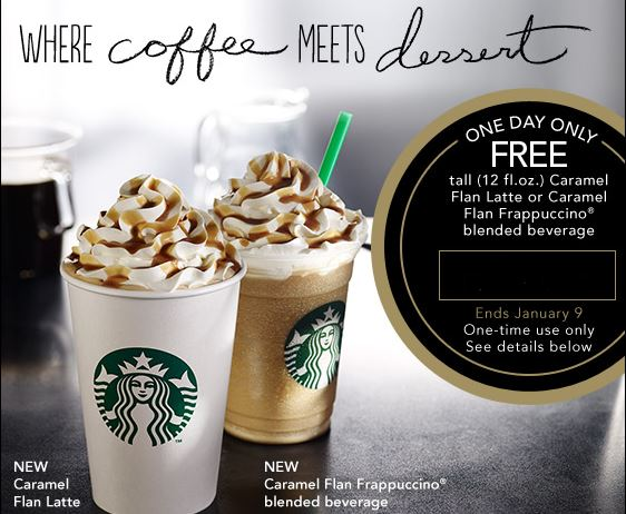 starbucksoffer Starbucks: Possible Free Tall Caramel Flan Drink! Today Only!