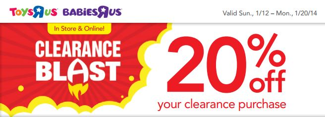 toys r us 20 off coupon Jan 13 Toys R Us & Babies R Us Coupons: 20 % off Clearance Item & 15% off Regular Priced Item