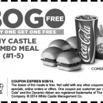 White Castle,white castle castle, white castle bogo castle combo meals, free stuff, coupon