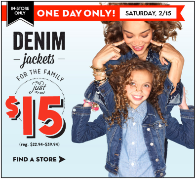 Old Navy 15 denim jackets feb 15 Old Navy: $15 Denim Jackets for the Whole Family (Today Only) + 30% off Entire Purchase!