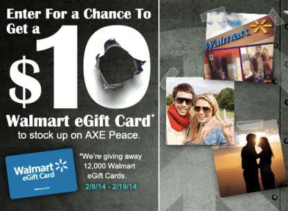 axesweeps AXE Peace Instagram Sweepstakes: Win a $10 Walmart eGift Card! (12,000 Winners)
