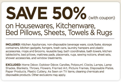 Home goods coupons discounts