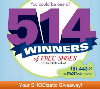 shoes giveaway ShoeTastic Giveaway: Win 1 of 514 FREE Pairs of Shoes ($100 Value!)
