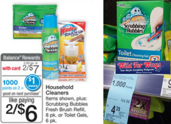 wagscleaners Scrubbing Bubbles Toilet Cleaning Gel and Windex Touch Ups Only $1.25 Each at Walgreens!