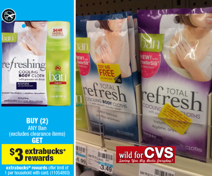Ban refresh6w FREE + $1.51 Moneymaker on Ban Refresh Cooling Cloths at CVS!