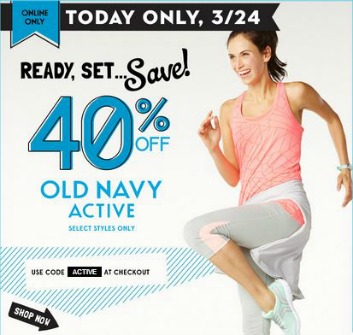 Old Navy 40 off activewear Old Navy: 40% off Activewear + $15 off $50 Purchase Coupon