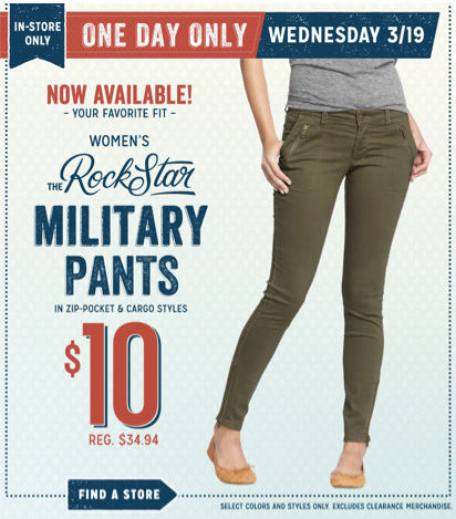 Old Navy Womens Rockstar Pants Old Navy: Womens Rockstar Military Pants Just $10 (reg. $35)  Today Only!