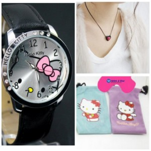 Hello Kitty Large Face Quartz Watch + Pouch, Necklace, and Extra Battery Only $3.33 Shipped, Amazon Deals, Online Deals, Kids, Children, Jewelry Deals