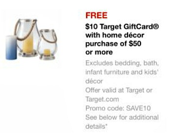 Target 10 off home decor FREE $10 Target Gift Card With Home Decor Purchase!