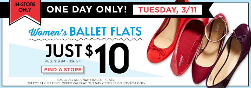 balletflats Old Navy: Ballet Flats Only $10! Today Only!