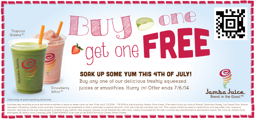 jamba email Jamba Juice: Buy 1 Get 1 FREE Juice or Smoothie Coupon