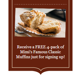 mimis Free 4 Pack of Muffins from Mimis Cafe!
