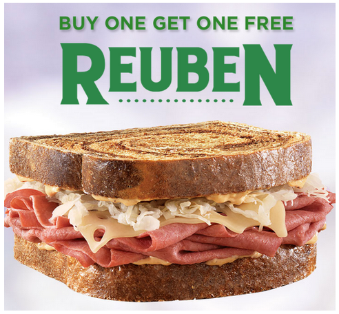 Arby's: Buy 1 Get 1 FREE Reuben Sandwich Coupon, Restaurant Deals, Restaurant Coupons, Arby's Deals, St. Patrick's Day Deals, Holiday Restaurant Deals