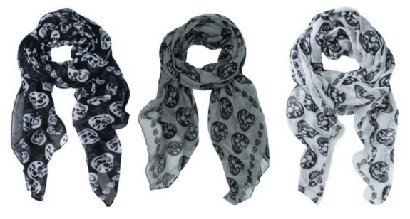 skull Skull Print Scarves Only $2.99 Shipped!