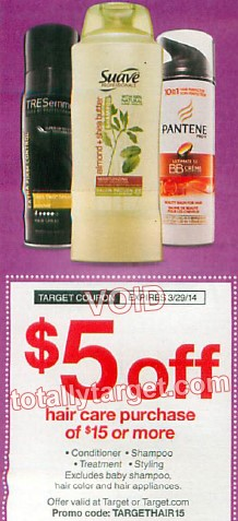 target hair care coupon Target Coupon: $5 Off a $15 Hair Care Purchase!