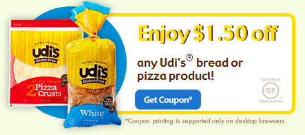 udi New $1.50/1 Udis Gluten Free Bread or Pizza Product Coupon!