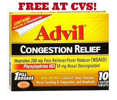 FREE ADVIL CONGESTION AT CVS1 FREE Advil Congestion Relief at CVS!