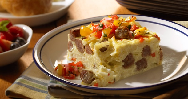 Johnsonville Sunrise Casserole detail Breakfast Recipe: Sunrise Casserole!