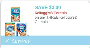 Kelloggs 3 off coupon HOT! $3 off 3 Kelloggs Cereal Coupon!