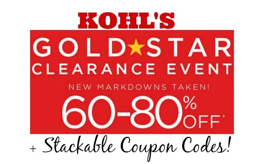 Kohls 60 to 80 off1 Kohls Gold Star Clearance up to 60% to 80% Off + Stackable Coupon Codes!