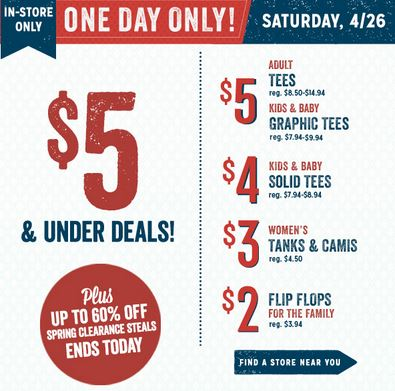 Old Navy 5 and under sale Old Navy $5 & Under Deals ($2 Flip Flops, $3 Tees + MORE)  Today Only!