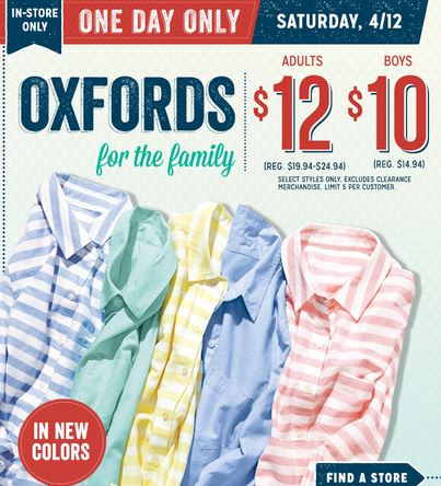 Old Navy Oxfords sale Old Navy: Oxford Shirts as Low as $7  Today Only!