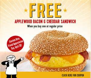 bagel BOGO FREE Applewood Bacon & Cheddar Egg Sandwich at Einstein Bros Bagels! TODAY ONLY
