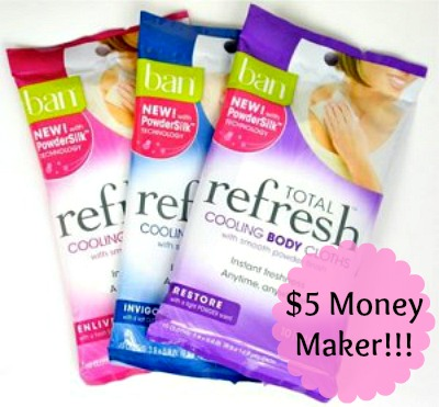 $5 Money Maker on Ban Total Refresh Body Cloths at Rite Aid, Free Stuff, Freebies, Money Maker, Cash Back, Hot Rite Aid Deals