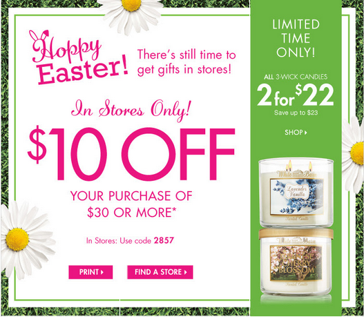 bath and body works1 Bath & Body Works: $10 off of $30, 2 for $22 3 Wick Candles, & $3 Room Perfume!