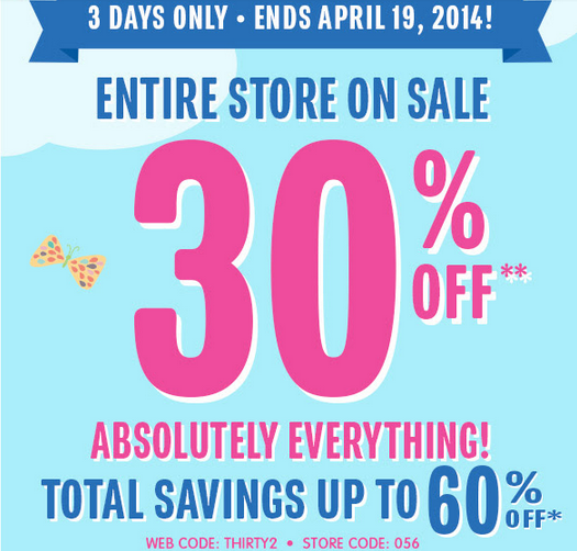 childrensplace2 The Childrens Place: 30% off Everything + FREE Shipping! Today Only!