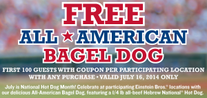 einsteinbros 300x142 FREE All American Bagel Dog at Einstein Bros Bagels!
