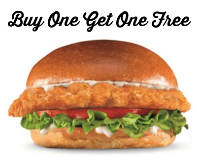 Bogo free big chicken fillet sandwich at carl s jr and for Hardee s fish sandwich