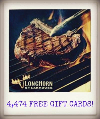 longhorn LongHorns Free Steaks for a Year Instant Win! Win 1 of 4,474 Gift Cards!