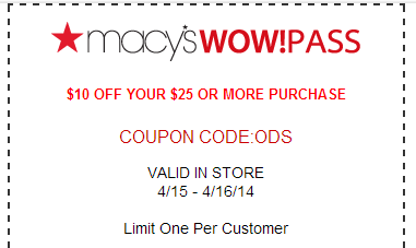 macys Macy's: $10 off $25 and $20 off of $50 Coupons! (2 Days Only!)
