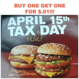 mcdonalds 300x300 McDonald's: Buy One Big Mac or Quarter Pounder, Get One For $.01!!!
