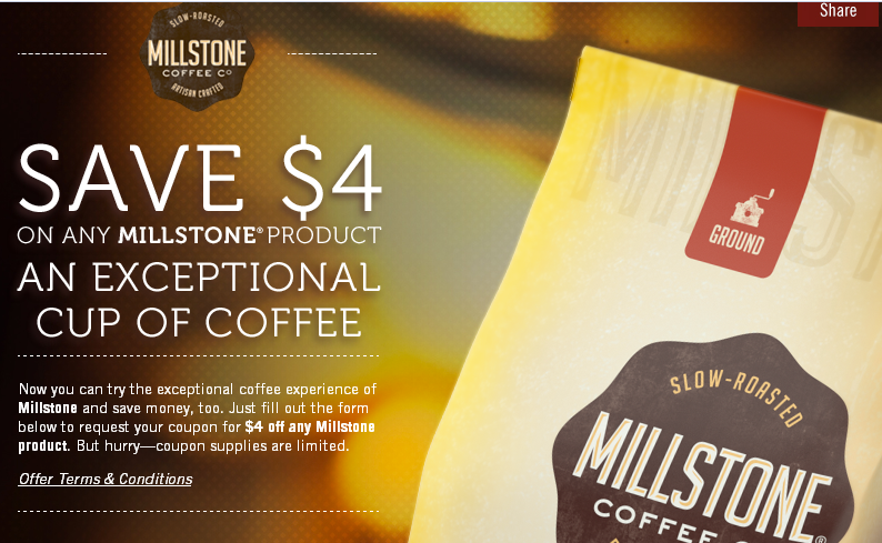 millstone HOT! $4 Off of ANY Millstone Product!!! First 5,000!