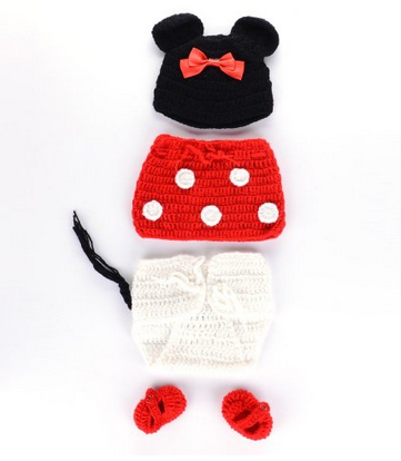 minnie set 4 Piece Minnie Mouse Crocheted Costume Photo Prop Only $9.07 Shipped!