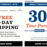 FREE 2-day Shipping from Old Navy, Gap, Banana Republic and Piperlime TODAY ONLY, Free Shipping Deals, old navy 30% off, old navy deals