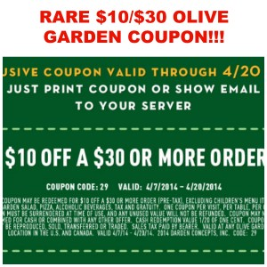 olivegarden 300x300 HOT! RARE $10 off of $30 at Olive Garden Coupon!