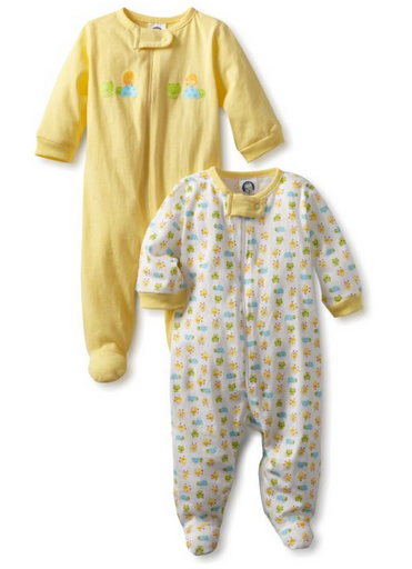 Gerber Uni 2 Pack Sleep N Play Zip Front Ducks esies