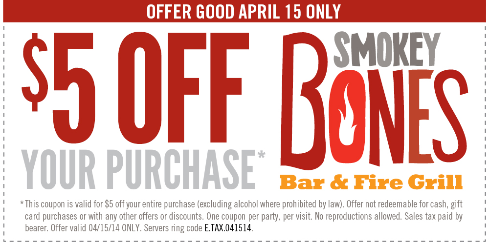 smokeybones Smokey Bones: Save $5 off of ANY Purchase!