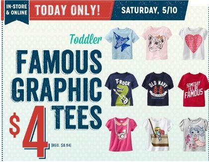 4 Graphic tees at Old Navy Old Navy: $4 Graphic Tees for Toddlers  Today ONLY!