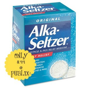 alkaseltzer 300x300 Alka Seltzer Antacid & Pain Reliever Foil Packs Only $.44 at Publix!